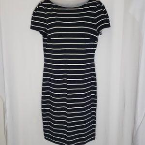 Ann Taylor Dress | Size 10 | Black w/ Cream Stripe